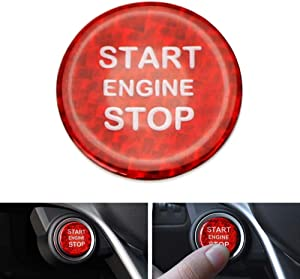 iJDMTOY (1) Gloss Red Real Carbon Fiber Keyless Engine Start/Stop Push Start Button Cover Compatible With Alfa Romeo Giulia Stelvio