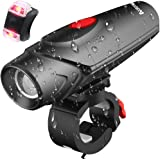 AUGYMER Bike Light, 12 Hours Lighting LED USB Rechargeable Bicycle Light, Waterproof Bike Lights Bicycle Headlights Safety Bike Front Light & Taillight Set for Mountain Road