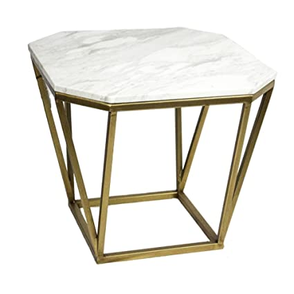 Amazoncom Benzara Contemporary Style Metal Marble Accent White
