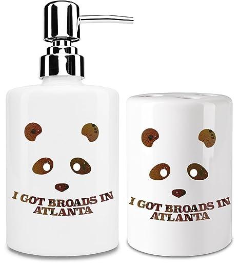 Panda Desiigner Dispensador de jabón y Porta Cepillo de dientes