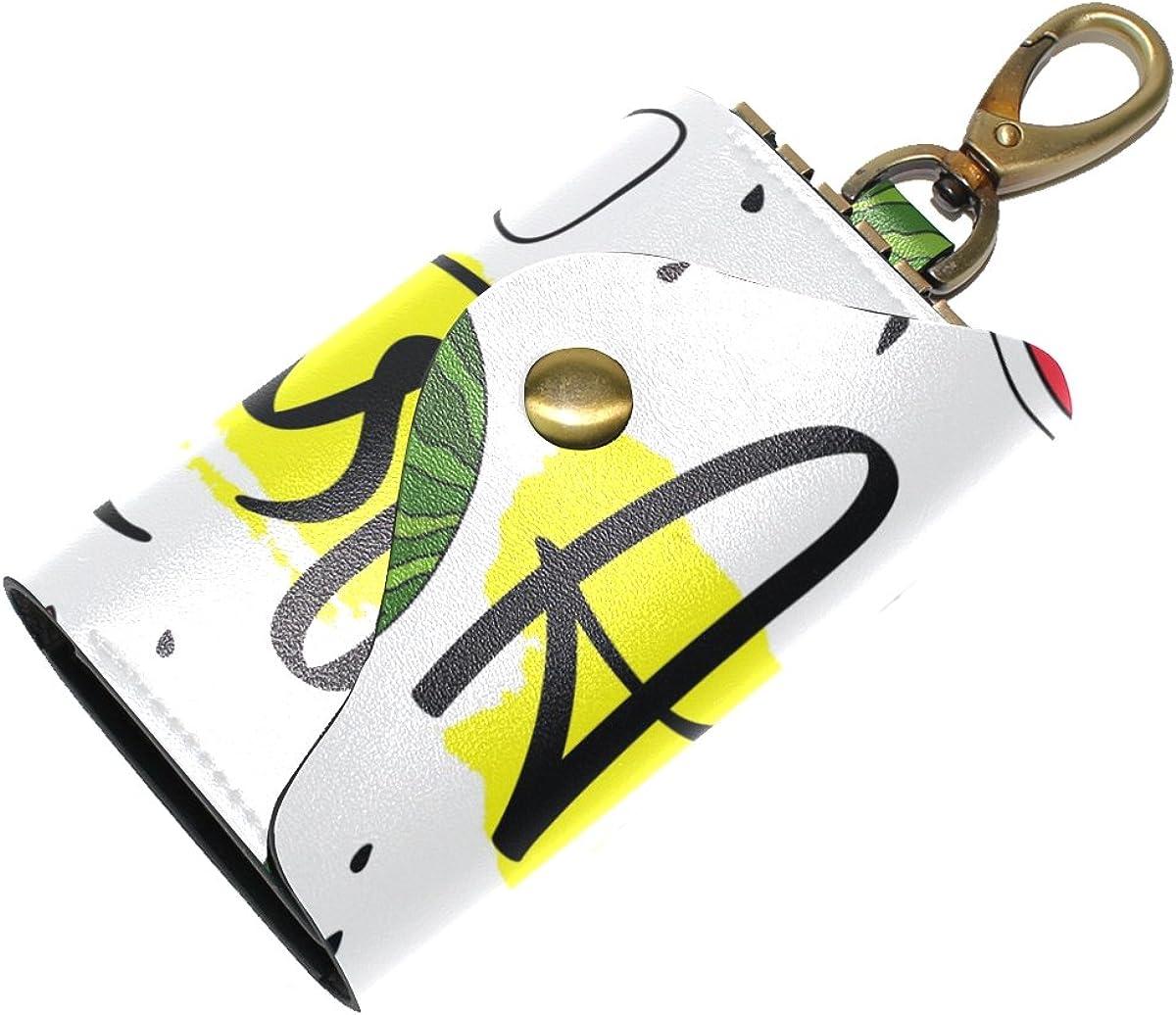 DEYYA Vintage Ancient Egyptian Leather Key Case Wallets Unisex Keychain Key Holder with 6 Hooks Snap Closure