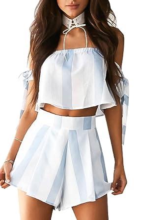 fc8a67140457 Womens s 2 Piece Outfits Boho Stripe Crop Top Shorts Set Boho Short Elastic  Waist Jumpsuit Romper