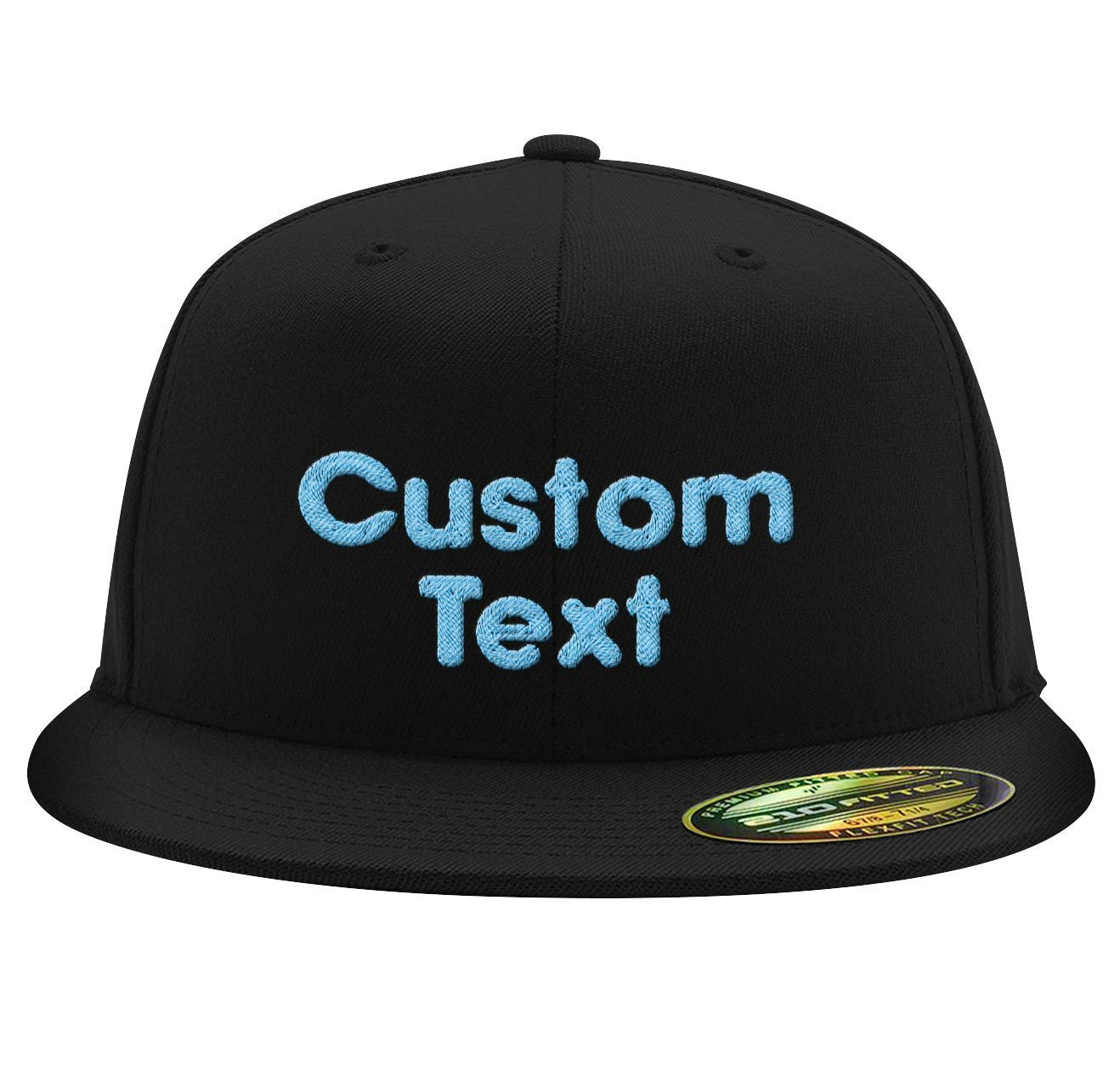 Your Design Here Custom Embroidered Flexfit 110F Structured Flat Bill Snapback Personalized Image /& Text