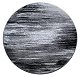 Masada Rugs, Modern Contemporary Area Rug, Grey Black White (5 Feet X 5 Feet) Round, Grey