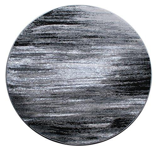 - Masada Rugs, Modern Contemporary Area Rug, Grey Black White (5 Feet X 5 Feet) Round, Grey
