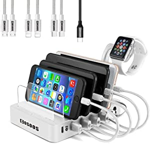 105W Charging Station for iPad Pro,Air, USB-C Laptop,Macbook,iPhone,Kindle, Samsung,Multiple Devices,COSOOS 6-Port USB Charger Station with Power Delivery PD & QC 3.0, 7 USB Cable(4 Type),iWatch Stand
