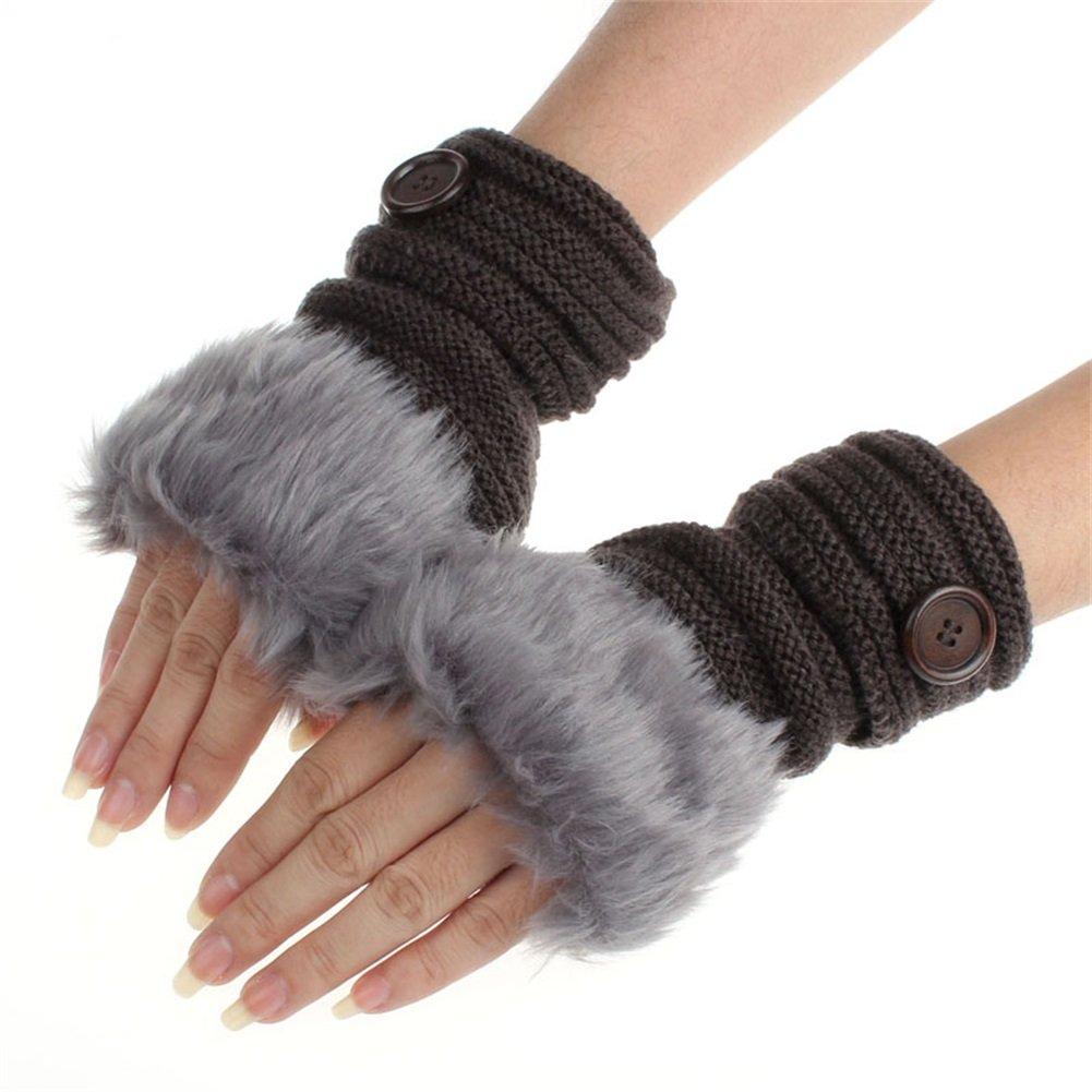 d02cce06e Decorie Women Warm Winter Faux Rabbit Fur Wrist Fingerless Mittens Gloves