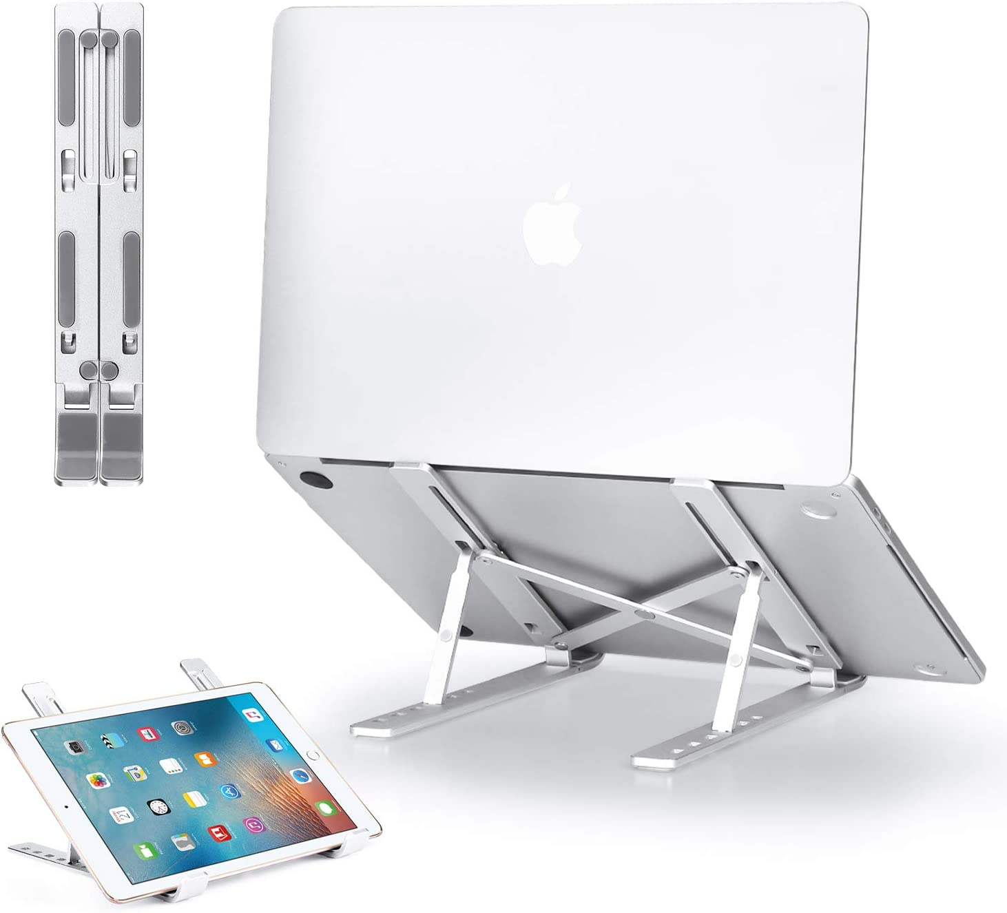 GIM Laptop Stand, Adjustable Aluminum Laptop Holder Riser Computer Tablet Stand, Foldable Portable Desktop Holder Compatible with 10-15.6 Inch MacBook,iPad, HP, Dell, Lenovo