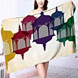 Miki Da Quick-Dry Bath Towel Arabian Hang on Sky Islamic Art Design Red Yellow Green Ideal for everyday use L63 x W31.2 INCH