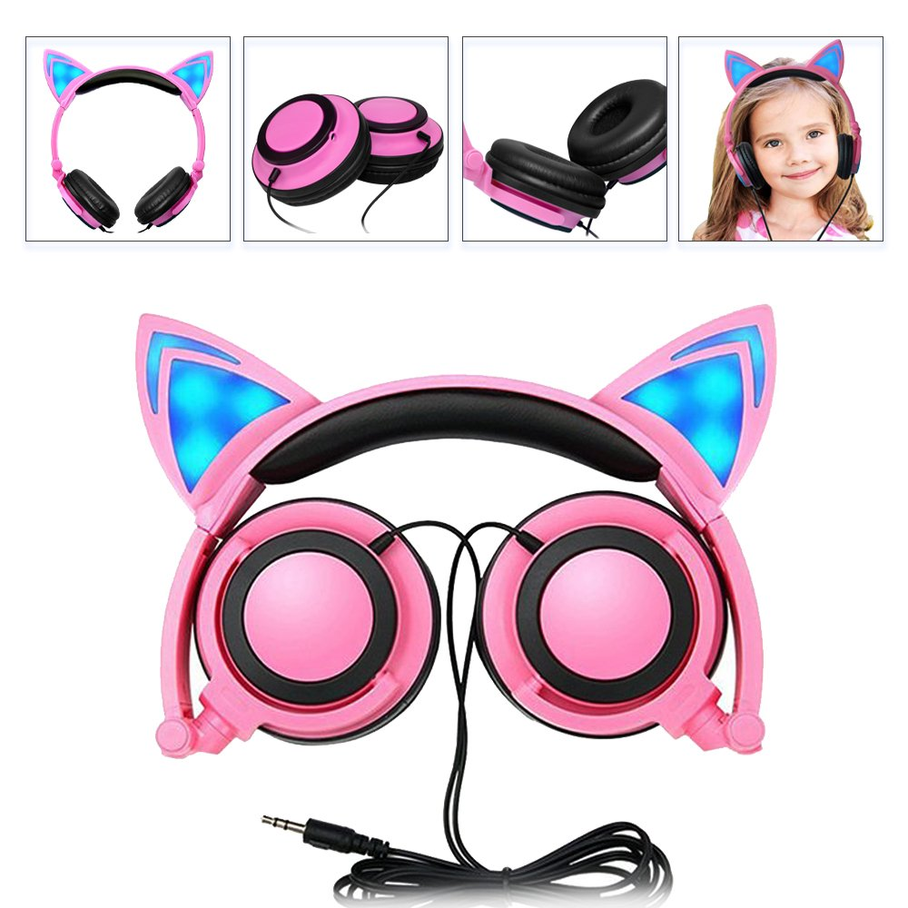 Headphone Cat Ear Headset, Foldable LED Light Cosplay Flash Earphone for Teens Girls Boys,Compatible for iPad,Tablet,Computer,iPhone,Android Mobile Phone (Pink)