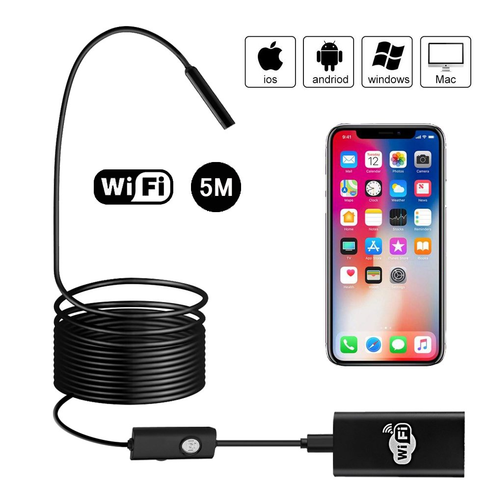 Wireless Endoscope, BEVA Upgraded 2 in 1 Borescope Inspection Camera 2.0 Megapixels 1200P HD Snake Camera for Android and IOS Smartphone , iPhone, Samsung, Tablet, PC (5M)