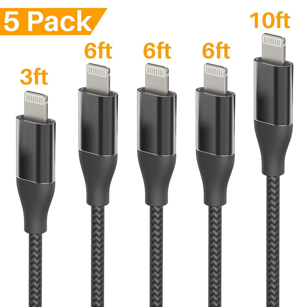 Lansen Charger Cables 5Pack 3FT 6FT 6FT 6FT 10FT to USB Syncing and Charging Cable Data Nylon Braided Cord Charger Compatible with iPhone X/8/8Plus/7Plus/6/6s/6Plus and more-Black Silver by Lansen