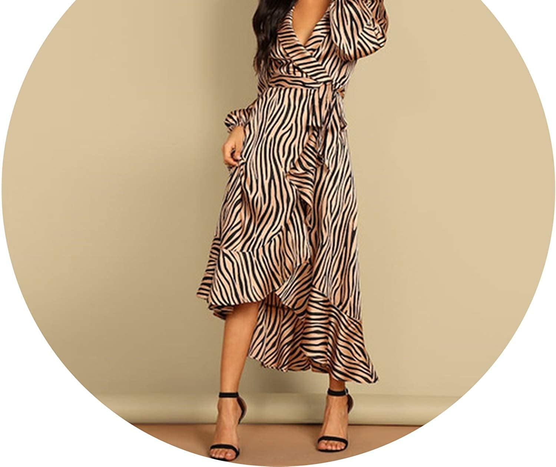 Multi V Neck Zebra Striped Print Party Spring Sexy Waistline Fashion Flounce Flared Hem Party Dresses