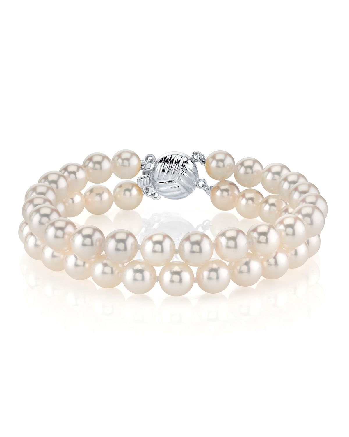 14K Gold 6.0-6.5mm Double Japanese Akoya Saltwater White Cultured Pearl Bracelet - AAA Quality