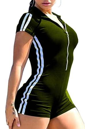 S-Fly Women Bodysuit V Neck Sports Slim Fit Zip-up Striped Short Romper 72864ae8c