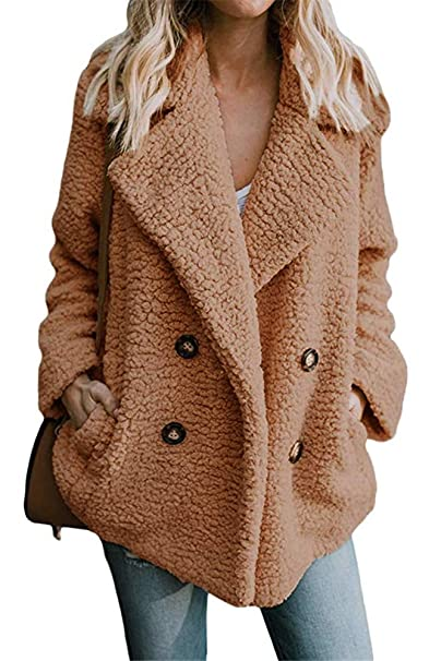 254a8d3832bb Miss Floral® Womens Faux Fur Teddy Bear Double Breasted Coat 8 Colour Size 6 -18  Amazon.co.uk  Clothing