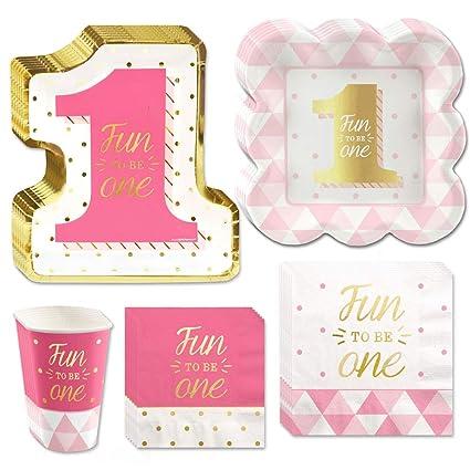 Fun To Be One 1er Cumpleaños Niña con papel de aluminio dorado – Party –  Platos 1a18fdf3b11