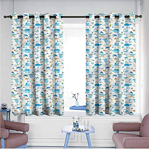 Abeocg Exquisite Curtain Baby Stork Carrying a Baby Children's Bedroom Curtain W55 xL72 Suitable for Bedroom,Living,Room,Study, etc.