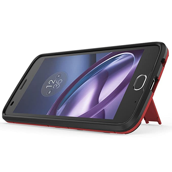 Shockproof with Kickstand Feature Case for Motorola Moto Z2 Play (5.5 inch) Hybrid Dual Layer Armor Defender Protective Cover (Red)