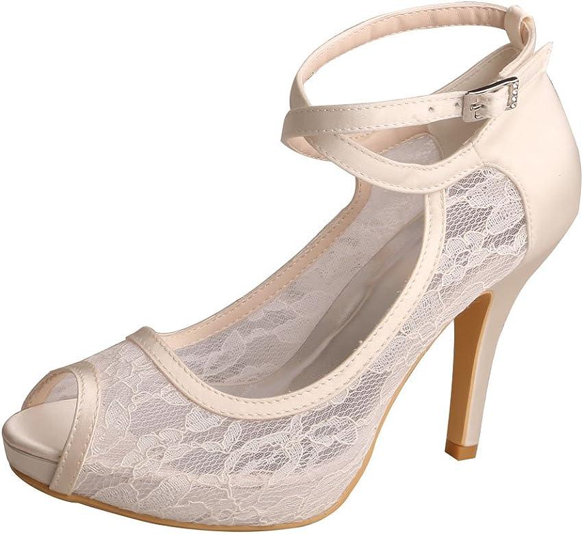 400a33a0de7f8 WD7008 Women Peep Toe High Heel Platform Ankle Straps Lace Wedding Shoes  Bridal
