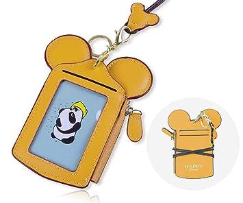 Soporte de Tarjeta ID [LEUYUAN] Identificación Funda Portatarjeta con Correa de Cuello (Amarillo)