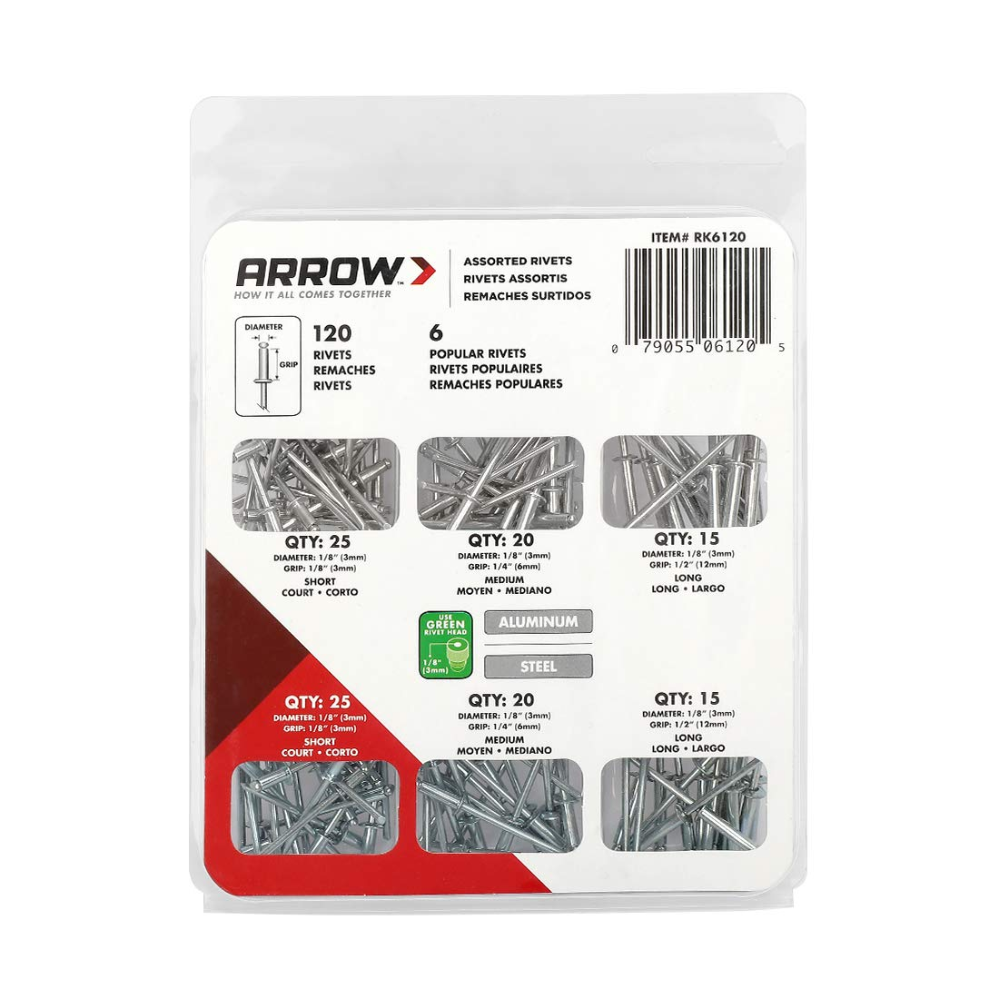 ARROW Heavy Duty Riveter Kit, Professional Pop Rivet Gun with Assorted 120 Rivets by ARROW (Image #6)