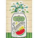 Sweet Summertime Mason Jar Daisies Striped Green 30 x 44 Large House Flag