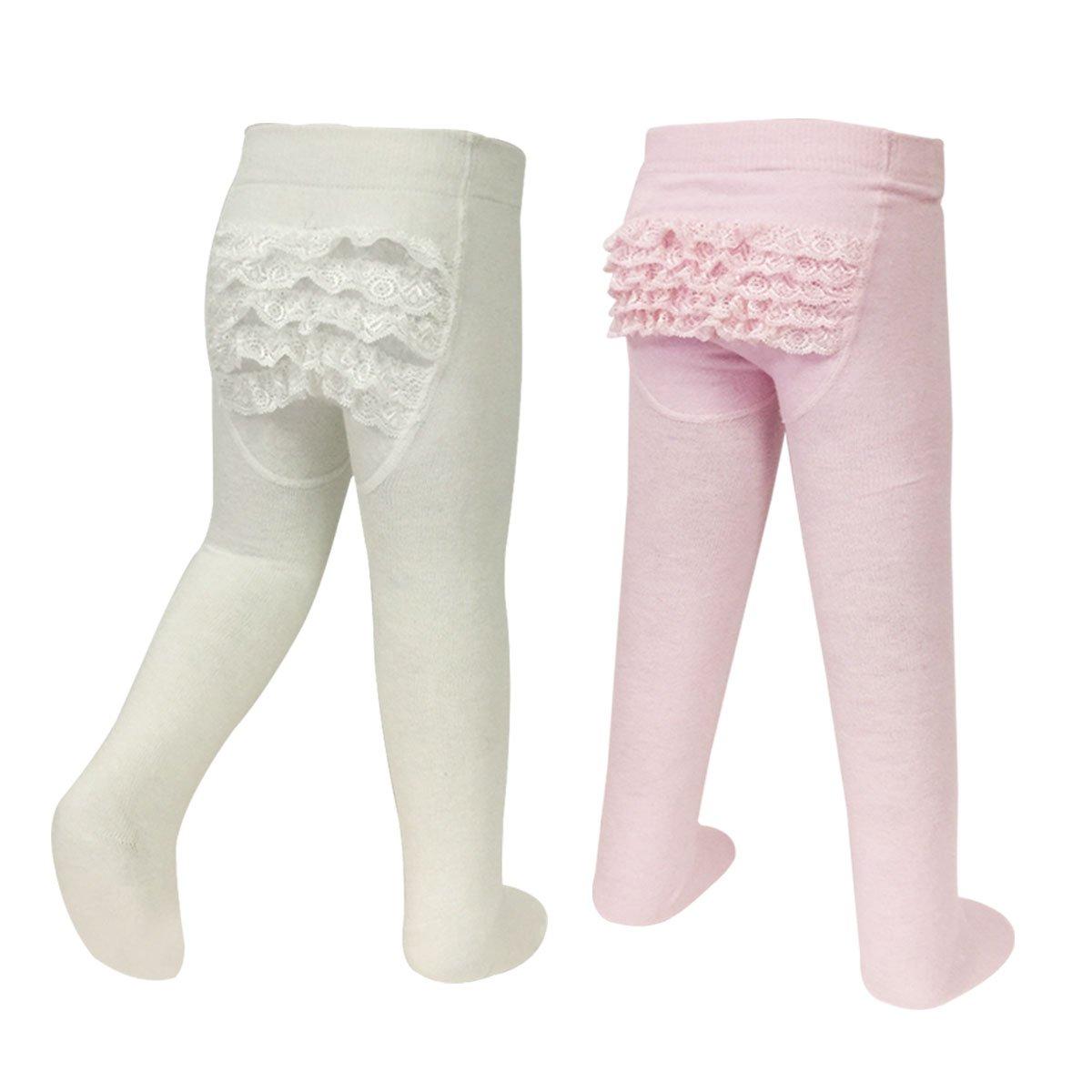 Bowbear 2-Pair Little Girl Ruffle Bottom Cotton Tights (Pink & Ivory)