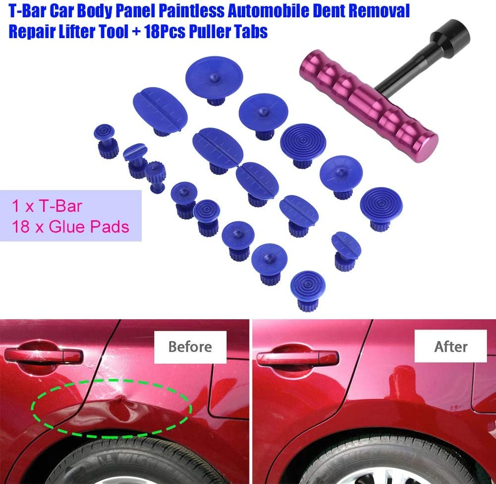 NOBRAND T-Bar Car Body Repair Panel Paintless Moto Dehicle Dent Dot Removal Repair Lifter Tool con 18 Piezas de pesta/ñas extractoras