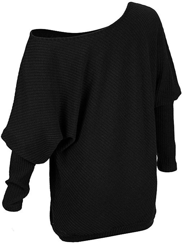 Ruiying Mujer Moda Suéter Largo Casual Jersey Prendas de Punto de Cuello Barco Batwing Mangas Largas Camiseta Tops: Amazon.es: Ropa y accesorios