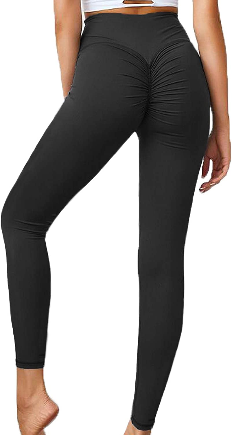 FITTOO Womens High Waist Textured Workout Leggings Booty Scrunch Yoga Pants Slimming Ruched Tights