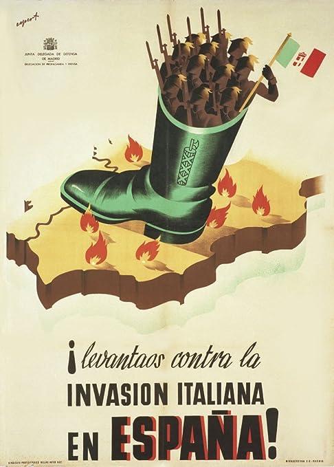 Vintage Guerra Civil Española 1936 – 39 Propaganda Rise Up contra la Invasion Italiana en España. 250 gsm ART tarjeta brillante A3 reproducción de póster: Amazon.es: Hogar