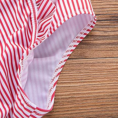 Dalary Baby Girl Bikini Striped Beach Swimsuit Ruffles Bathing Suit Swimwear