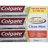 Colgate Total Toothpaste, Clean Mint, 3 X 130 ml