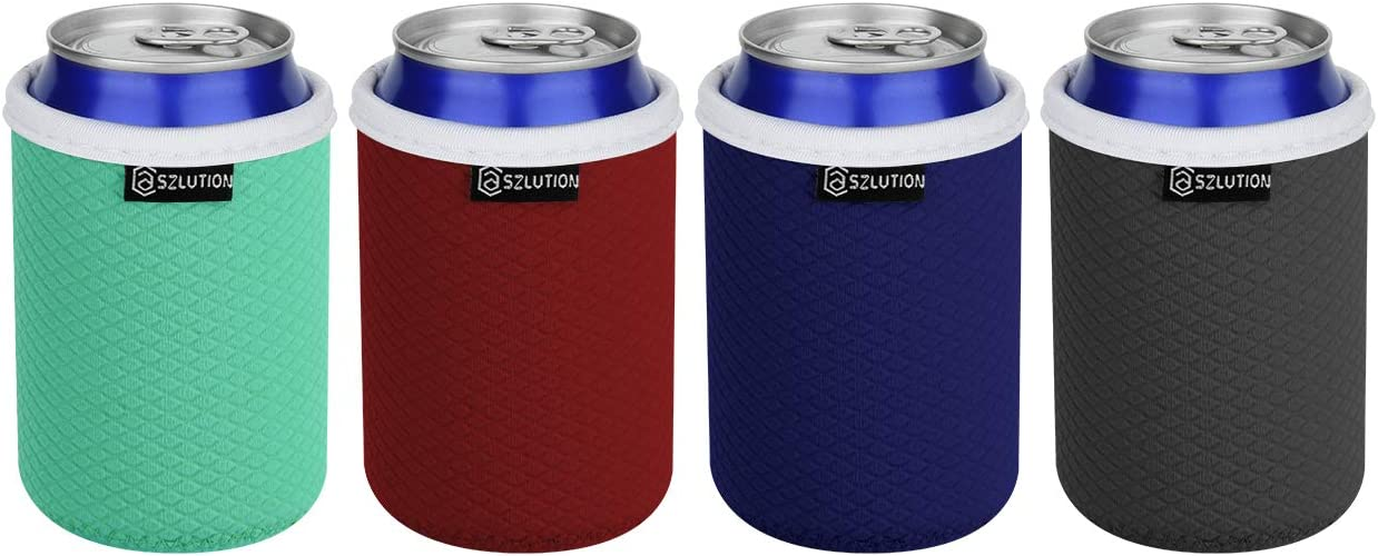 CASE STAR Standard Can Coolers Sleeves Premium Texture Neoprene Beer Bottle can Holder Cover Sleeves Coolie fits 12 OZ Drink Cans Hide a Beer Can Cover (4 Pack)