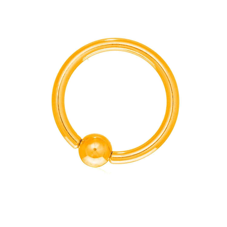 JewelStop 14K Solid Yellow Gold Captive Ball Closure Bead Nipple Ring Body Jewelry, 14 gauge