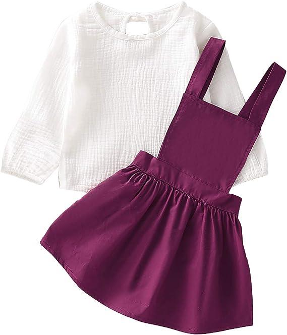 puseky Camiseta para niña de Manga Larga para niña + Falda con ...