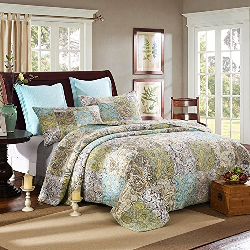 Paisley Pattern Handmade 3-Piece 100% Cotton Queen Size Patchwork Quilts and Bedspreads