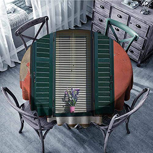 (Outdoors Round Tablecloth Country,Old Italian Stone House with Medieval Style Shutters and Colorful Flowers Image,Red Green Grey Picnic Cloth Diameter 50