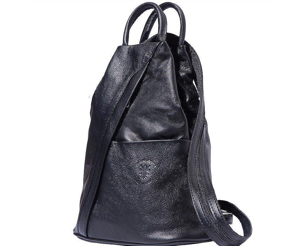 Rucksack und Schultertasche aus weichem, italienischen Leder, mit umkehrbarem Reißverschluss B01GIAT2WM Rucksackhandtaschen Kunde zuerst