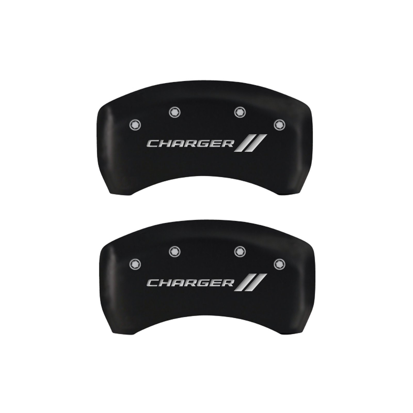 MGP Caliper Covers 12162SCH1MB 'Charger ll' Engraved Caliper Cover with Matte Black Powder Coat Finish and Silver Characters, (Set of 4) by MGP Caliper Covers (Image #1)