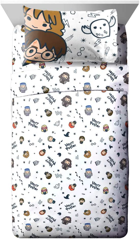 Jay Franco Harry Potter Charms 3 Piece Twin Sheet Set, Featuring Ron, Hermoine, Luna Lovegood