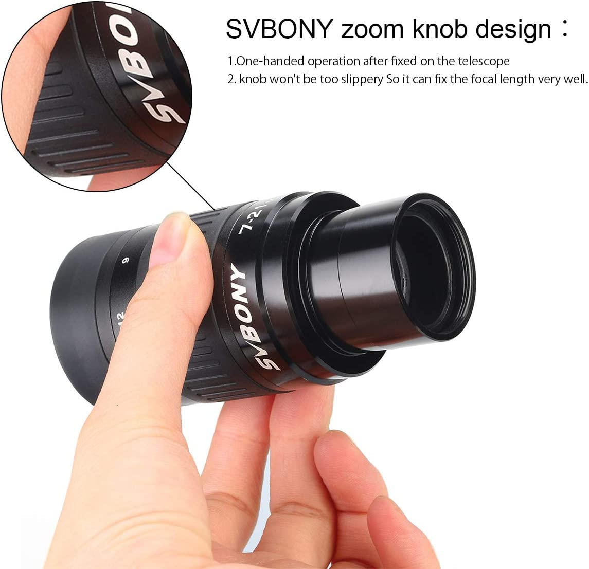 SVBONY SV135 Telescope Eyepiece Zoom 7 to 21mm 1.25 Inch Fully multi Coated 6 Element 4 Group for Astronomic Telescopes