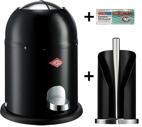 Wesco Single Master 9-Liter Mülleimer schwarz + Küchenrollenhalter schwarz + 40 Müllbeutel im Set