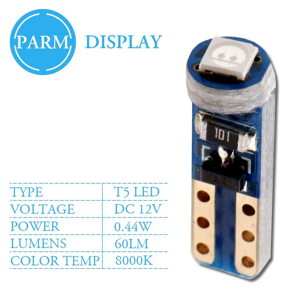 Grandview 10pcs Azul T5 Bombillas LED 1-3030-SMD para Interior del Autom/óvil Veloc/ímetro Tablero de Instrumentos Instrumento Indicador Indicador de Grupo Indicador de Luz Panel L/ámpara de Tablero