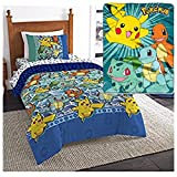 Pokémon ''First Starters'' 5 Piece Twin Bedding Set - Reversible Comforter, Sheet Set with Reversible Pillowcase and PlushThrow Blanket - Kids