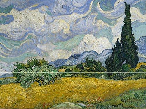 - Wheat Field with Cypresses by Vincent van Gogh Tile Mural Kitchen Bathroom Wall Backsplash Behind Stove Range Sink Splashback 4x3 6
