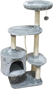 MIAO PAW Cat Tree Tower Condo Sisal Post Scratching Furniture Activity Center Play House Cat Bed Four Colors
