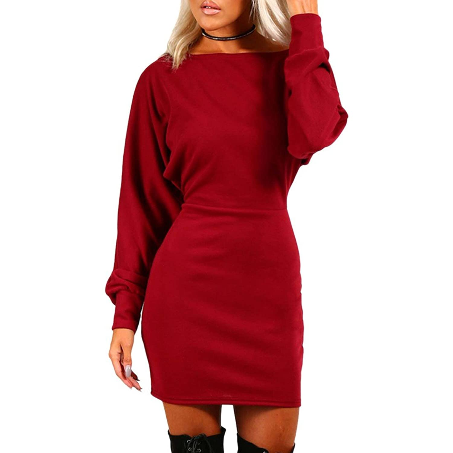 Paixpays Women Long Batwing Sleeve Nightclub Short Dress Bodycon Cocktail Dress