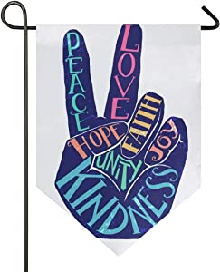 Aflyko Peace Sign Garden Yard Flag Double Sided Outdoor Decorative Garden Flag Banner for Home Lawn Porch Decor, 12x18.5 Inch